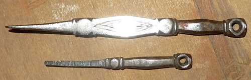 Pair of tantric tools to heal, the smaller tool used to scratch the bigger one